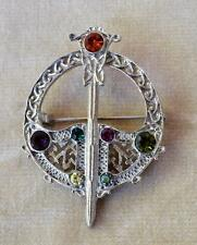 Vintage Silvertone Rhinestones CELTIC SCOTTISH SWARD Kilt Pin Brooch