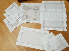 More details for 9 x antique vintage linen traycloth table mats hand embroidered white cutwork