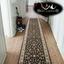 Thick Hall Runner TRADITIONAL AMARENO VELA BROWN Width 80 cm extra long RUGS