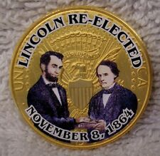 Abraham Lincoln Re-Elected  - Civil War Colorized Golden Kennedy Half Dollar