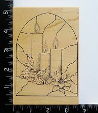 Stained Glass Window & Candles By Stamps In Motion Christmas Rubber Stamp #37A