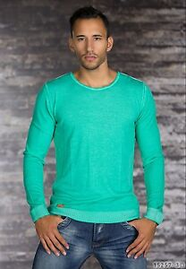 Langarm Shirt T-Shirt Pullover aus dünnem Strick - Stoff Grün S, M, L, XL Herren