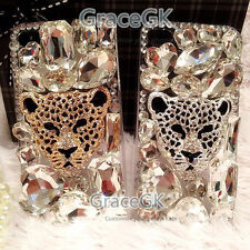 3D Leopard Bling Gems Black Case rhinestones Phone Case Cover For Various Phone