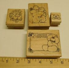 Lot 4 BEAR Wood Mount Rubber DOTS Stamps Mixed Sizes Vintage