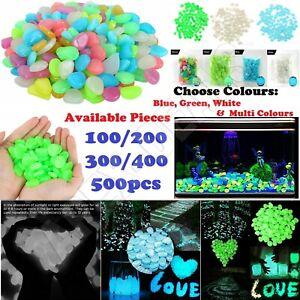 100/500x Glow In The Dark Pebbles Stones Luminous Walkway Garden Fish Tank Decor