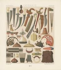 ANTIQUE OCEANIA PACIFIC TRIBE WEAPON COSTUME ART CHROMOLITHOGRAPH COLOR PRINT