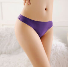 LE No trace thong ice silk invisible T pants ladies sexy T-back Thong underwear