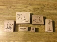 "Stampin' Up! Set of 6 Wooden Rubber Stamps ""Love Owl - Ways"" Birds Mailbox Heart"