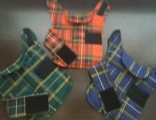 dog coat. Cotton linen  .size Medium. 3 colours. Red. Blue. Green check