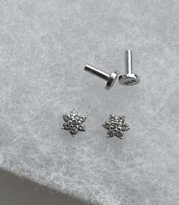 Sterling Silver Flower Threaded Labret Single Stud Earring