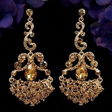Rose Gold Plated GP Topaz Crystal Rhinestone Chandelier Drop Dangle Earrings 895