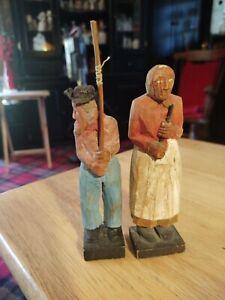 Wood Carving Ole The Hermit  Figurines Vintage Folk Art Hand Painted North Dakot
