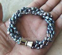 4 Stränge 4-6mm Schwarz Barock Süßwasser Perle Twist Armband Magnetverschluss