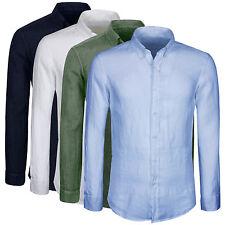 Camicia Uomo Puro Lino Casual Slim Fit Manica Lunga Vari Colori S M L XL XXL 3XL
