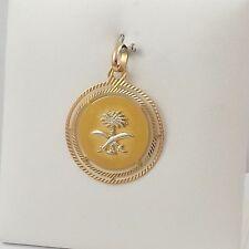 18K 2 Tone Gold Emblem Saudi Arabia Disc Charm Pendant 7.4gr