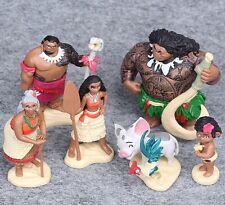 "Disney Moama (Set Of 6) 2-1/4""- 3-3/4"" Birthday Cake Topper Figurines Toy Set"