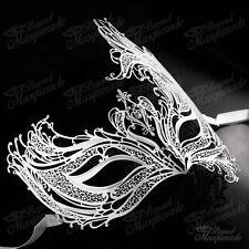 Womens Beautiful Phoenix Laser-Cut Metal Venetian Masquerade Mask [White]