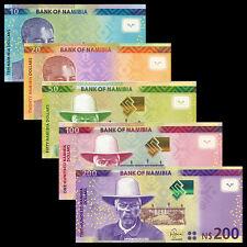 Namibia 5 PCS set Banknotes,10+20+50+100+200 Dollars, 2012-2016, P-11-15, UNC