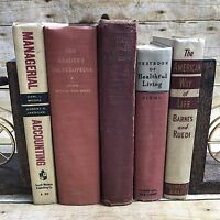 Lot Lot Of 5 Vintage Books Red Tan Wedding Library Farmhouse Decor Book Stack