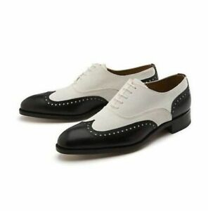 Handmade Men Black And White Wingtip Shoes, Mens Dress Leather Shoes