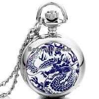 Dragon Totem Silver Tone Pocket Quartz Watch Pendant Men's Necklace w Chain