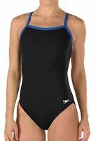 Speedo Womens Black Blue Size 8 /34 Training Flyback Endurance Swimsuit $69 142