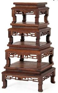 Splendid SQUARE Display Set-ROSEWOOD-4PC-For Bonsai SUISEKI