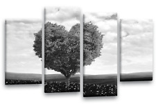 LOVE TREE Floral Art Picture Black White Grey Landscape Abstract Wall Canvas