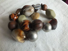 """Beautiful Stretch Bracelet Double Strand Larger Beads Leather Tassel 1 1/2"""" WOW"""