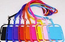 Cell Phone Silicone Case Credit ID Card Bag Holder Pocket Lanyard Black Pink +++