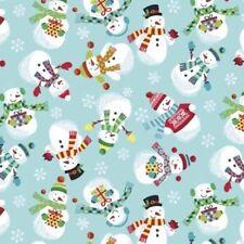 FROSTY CHRISTMAS BLUE SNOWMAN TOSS FABRIC