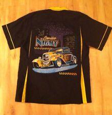 Men's Vintage Rockabilly Shirt Black Cruise Night Hotrod Size Small Hilton