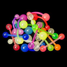 20 Glow In The Dark Belly And Tongue Rings 14g Flexible 7 Colors