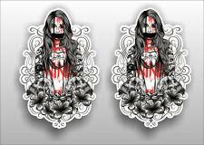 Women tattoo Skull Flower Dark Horr Vinyl Sticker Decal Window Car Van Bike 024