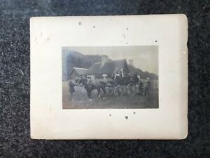 Mounted Photograph - 2 In Hand Horse Carriage Lovely Animated Scene with Dog