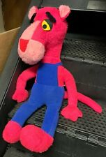 Vtg Pink Panther 1980 Mighty Star Hanna Barbera 24'' Plush w/ Overalls Pink Blue