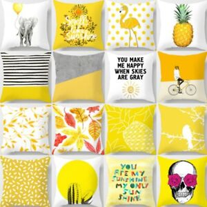 Nordic Yellow Geometric Pillow Case Sofa Waist Throw Cushion Cover Home Decor