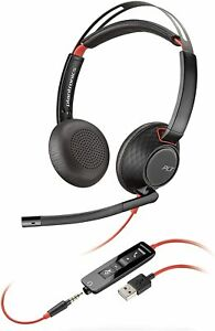 Plantronics - Blackwire C5220 - Wired, Dual-Ear Stereo Headset with Boom Mic New