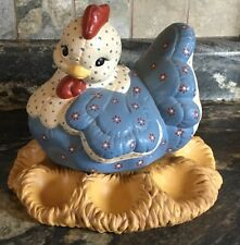 VINTAGE 2 PC HAND PAINTED CERAMIC PUFFY HEN ON NEST EASTER EGG HOLDER TRAY