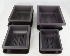 "4 Set 6.25""-10"" Rectangular Plastic Bonsai / Succulents Pot + Tray - Dark Brown"