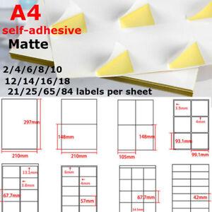 Lot A4 Matte Self-adhesive Paper Sticker,1~84 Labels / Sheet  Inkjet Laser Print