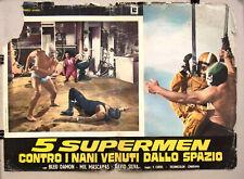 (Set of 8) 5 Supermen contro i nani venuti dallo spazio Italian Film Lobby Card