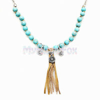 Lucky Brand Silver Tone Turquoise Bead Leather Fringe Tassel Pendant Necklace