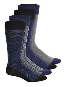 Alfani Mens Men's Dress Socks Gray Purple Size 10-13 4 Pack Printed $26