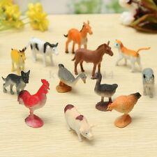 12PCS Plastic Farm Yard Figure Pig Cow Horse Dog Animal Model Kids Playset Toy