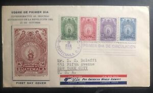 1947 Guatemala First Day Cover FDC To New York USA Revolution Anniversary