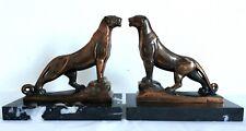 Maurice FRECOURT paire de serre-livres sculptures panthères 1930 Art Déco