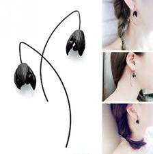 Fashion Women Gothic Long Earrings Flower Bud Ear Stud Hook Tassel Jewelry Black