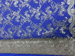 Hardy'sTextile100%PolyTulle Fabric Embroidery,Gold Sequins flowersDIY Bridalwear