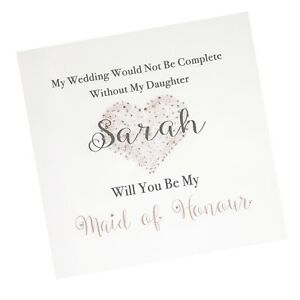 Personalised Will You Be My Maid of Honour Bridesmaid Sister Daughter Niece /SC